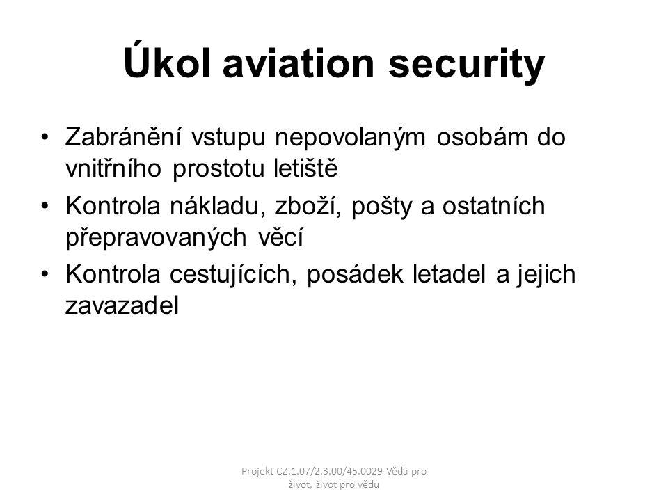 Úkol aviation security Zabránění vstupu nepovolaným osobám do vnitřního prostotu letiště Kontrola nákladu, zboží, pošty a ostatních přepravovaných věcí Kontrola cestujících, posádek letadel a jejich zavazadel Projekt CZ.1.07/2.3.00/45.0029 Věda pro život, život pro vědu