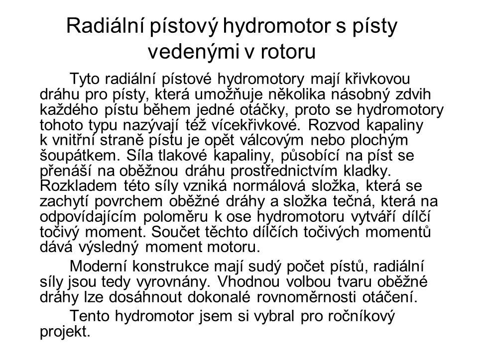 Radiální pístový hydromotor s písty vedenými v rotoru Tyto radiální pístové hydromotory mají křivkovou dráhu pro písty, která umožňuje několika násobný zdvih každého pístu během jedné otáčky, proto se hydromotory tohoto typu nazývají též vícekřivkové.