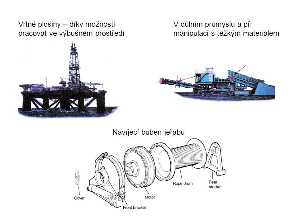 Vrtné plošiny – díky možnosti pracovat ve výbušném prostředí V důlním průmyslu a při manipulaci s těžkým materiálem Navíjecí buben jeřábu
