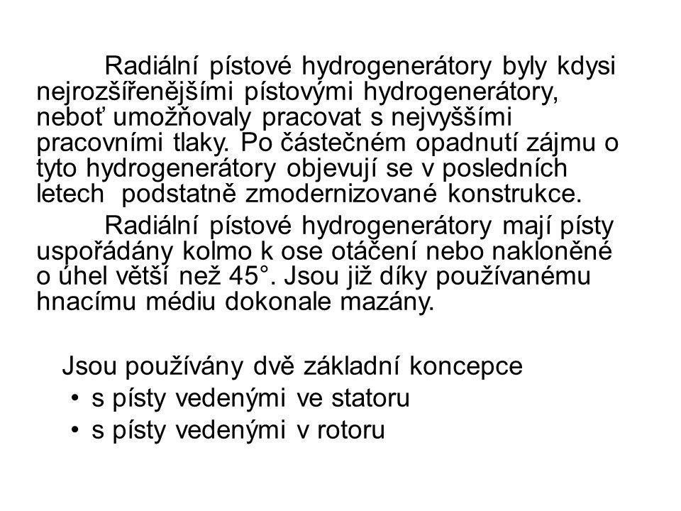 Radiální pístové hydrogenerátory byly kdysi nejrozšířenějšími pístovými hydrogenerátory, neboť umožňovaly pracovat s nejvyššími pracovními tlaky.