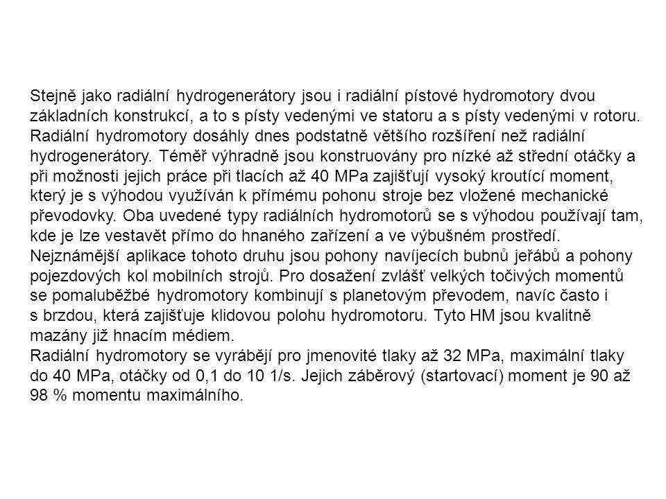 Stejně jako radiální hydrogenerátory jsou i radiální pístové hydromotory dvou základních konstrukcí, a to s písty vedenými ve statoru a s písty vedenými v rotoru.