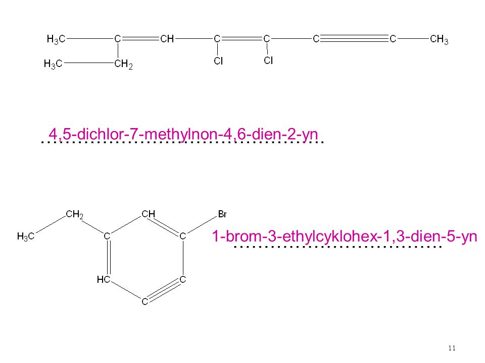 11 ………………………………………. ……………………………. 4,5-dichlor-7-methylnon-4,6-dien-2-yn 1-brom-3-ethylcyklohex-1,3-dien-5-yn
