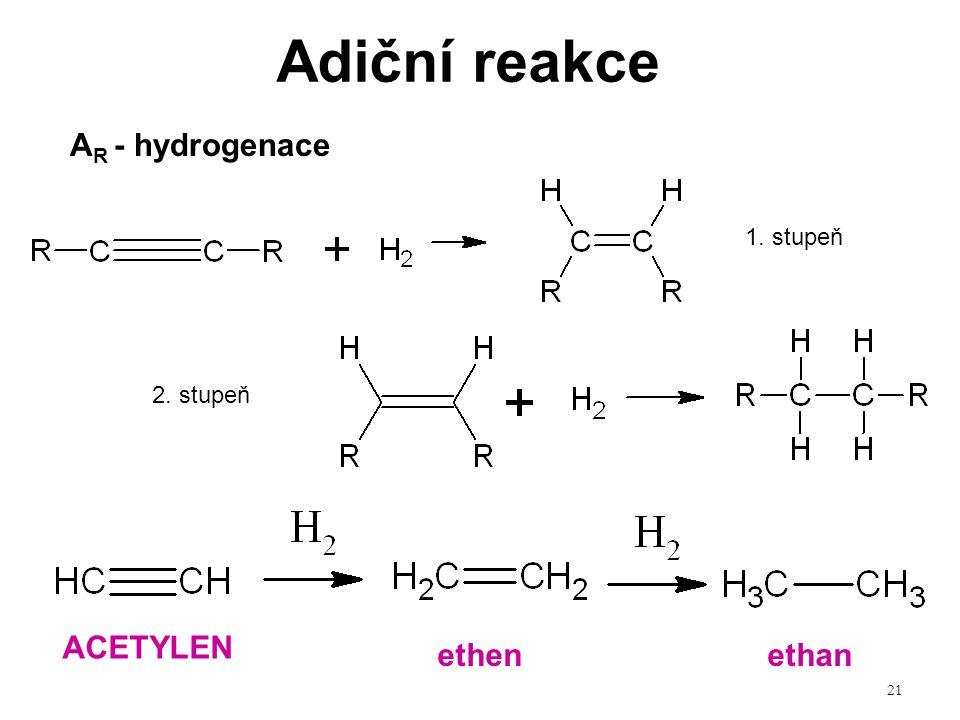 21 Adiční reakce 1. stupeň 2. stupeň ACETYLEN A R - hydrogenace ethenethan