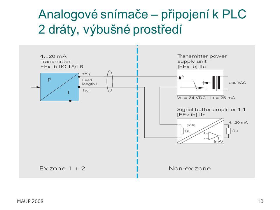 MAUP 200810 Analogové snímače – připojení k PLC 2 dráty, výbušné prostředí