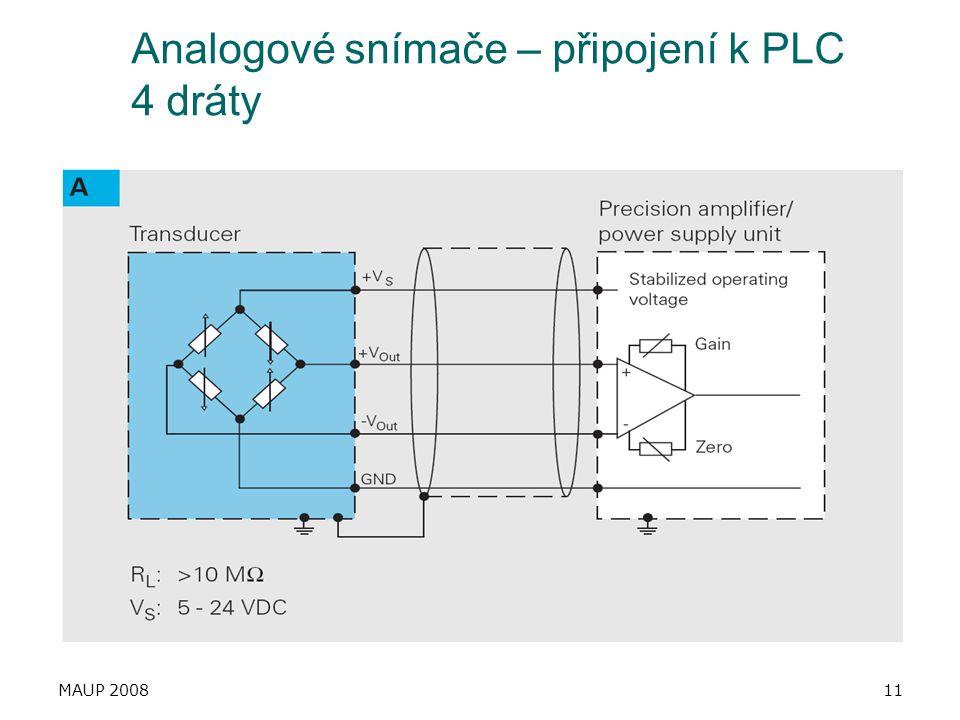 MAUP 200811 Analogové snímače – připojení k PLC 4 dráty