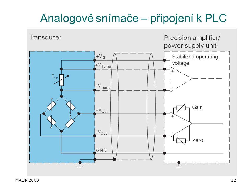 MAUP 200812 Analogové snímače – připojení k PLC