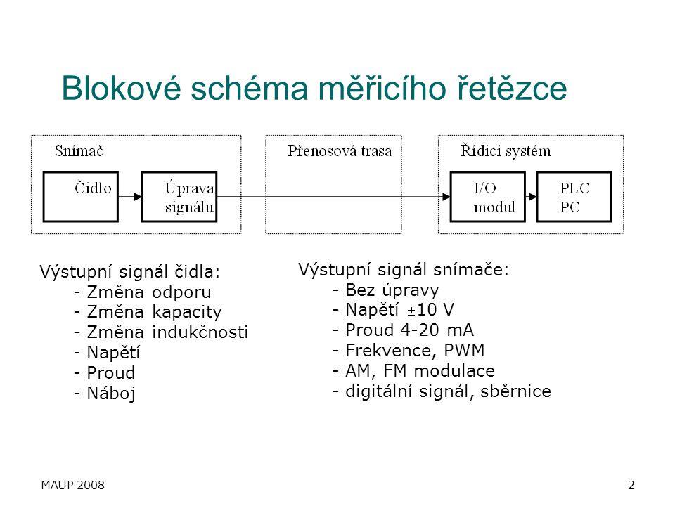 MAUP 20082 Blokové schéma měřicího řetězce Výstupní signál čidla: - Změna odporu - Změna kapacity - Změna indukčnosti - Napětí - Proud - Náboj Výstupn