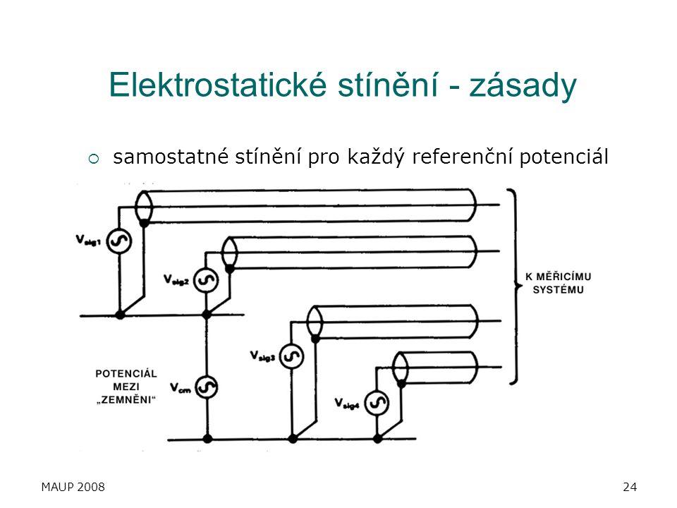 MAUP 200824 Elektrostatické stínění - zásady  samostatné stínění pro každý referenční potenciál