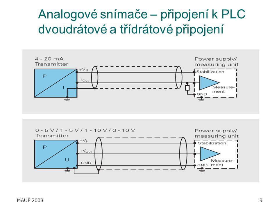 MAUP 20089 Analogové snímače – připojení k PLC dvoudrátové a třídrátové připojení