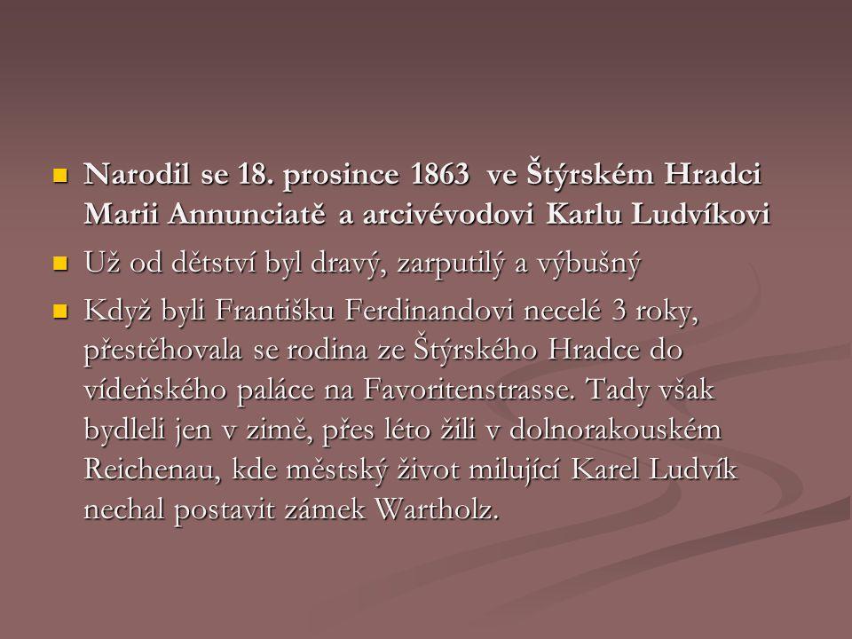 28.června 1914 FF a Žofie zavražděni výstřely Gavrilo Principa v Sarajevu 28.