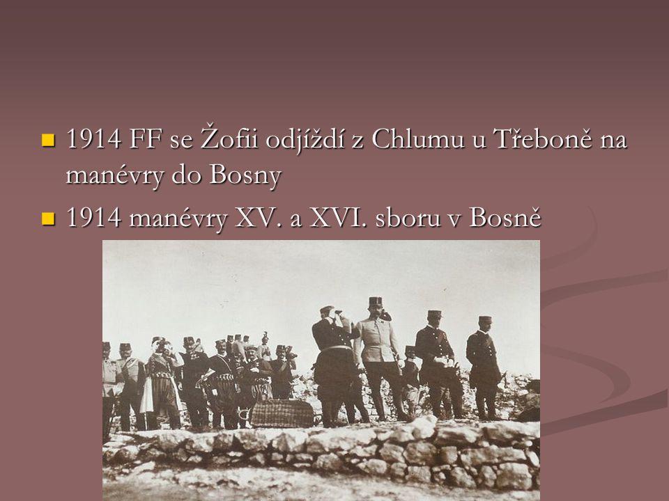 1914 FF se Žofii odjíždí z Chlumu u Třeboně na manévry do Bosny 1914 FF se Žofii odjíždí z Chlumu u Třeboně na manévry do Bosny 1914 manévry XV.