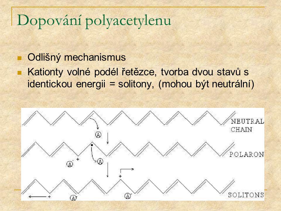 Dopování polyacetylenu Odlišný mechanismus Kationty volné podél řetězce, tvorba dvou stavů s identickou energii = solitony, (mohou být neutrální)