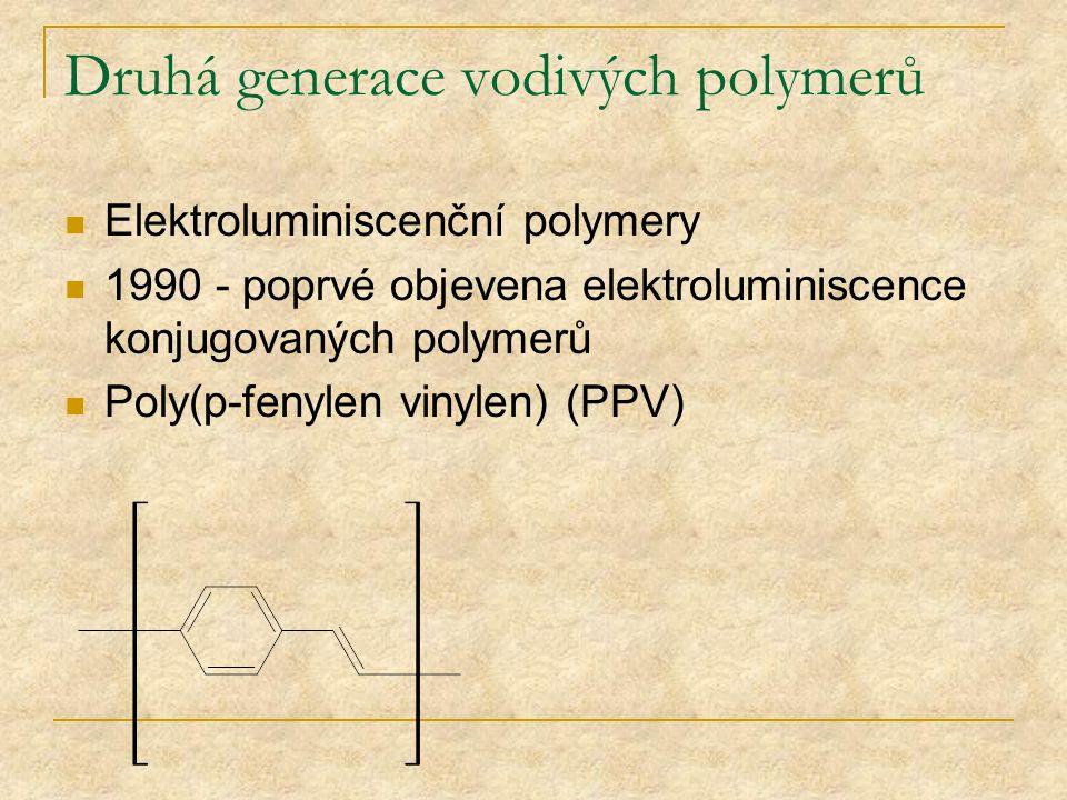 Druhá generace vodivých polymerů Elektroluminiscenční polymery 1990 - poprvé objevena elektroluminiscence konjugovaných polymerů Poly(p-fenylen vinyle