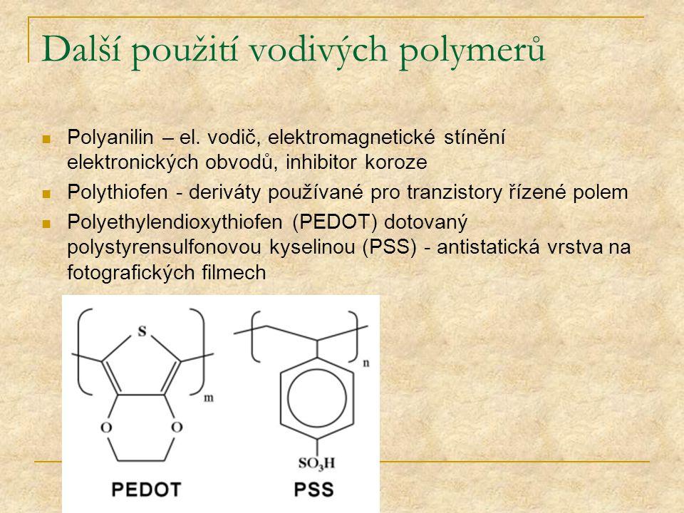Další použití vodivých polymerů Polyanilin – el. vodič, elektromagnetické stínění elektronických obvodů, inhibitor koroze Polythiofen - deriváty použí