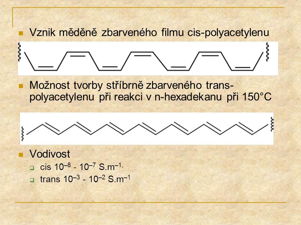 Vznik měděně zbarveného filmu cis-polyacetylenu Možnost tvorby stříbrně zbarveného trans- polyacetylenu při reakci v n-hexadekanu při 150°C Vodivost 