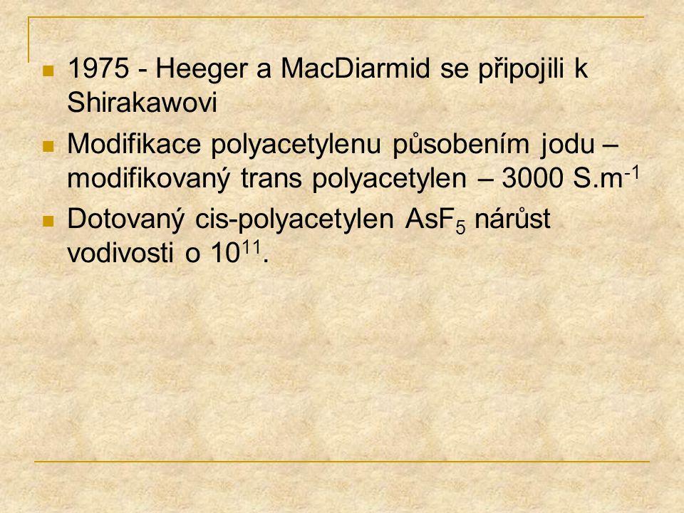 1975 - Heeger a MacDiarmid se připojili k Shirakawovi Modifikace polyacetylenu působením jodu – modifikovaný trans polyacetylen – 3000 S.m -1 Dotovaný
