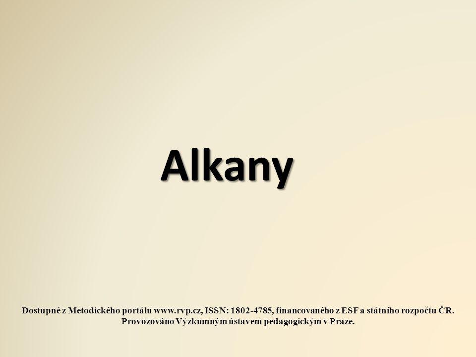 Vysvětlení a příklady Alkany Alkany jsou uhlovodíky obsahující v otevřeném řetězci výhradně jednoduché vazby.