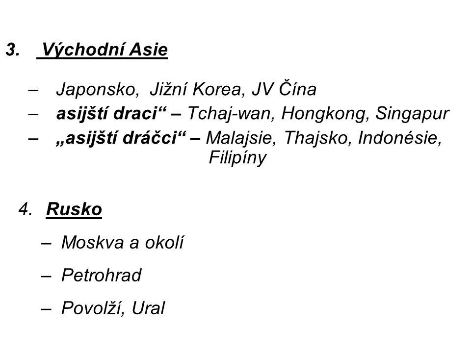 "3. Východní Asie –Japonsko, Jižní Korea, JV Čína –asijští draci"" – Tchaj-wan, Hongkong, Singapur –""asijští dráčci"" – Malajsie, Thajsko, Indonésie, Fil"