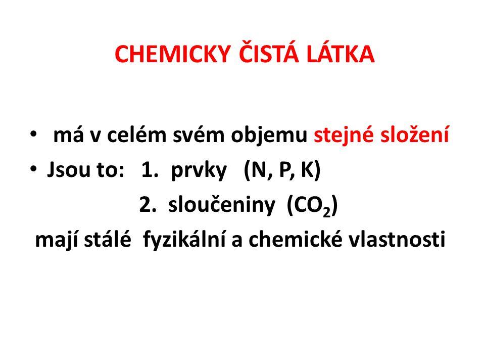 CHEMICKY ČISTÁ LÁTKA má v celém svém objemu stejné složení Jsou to: 1.