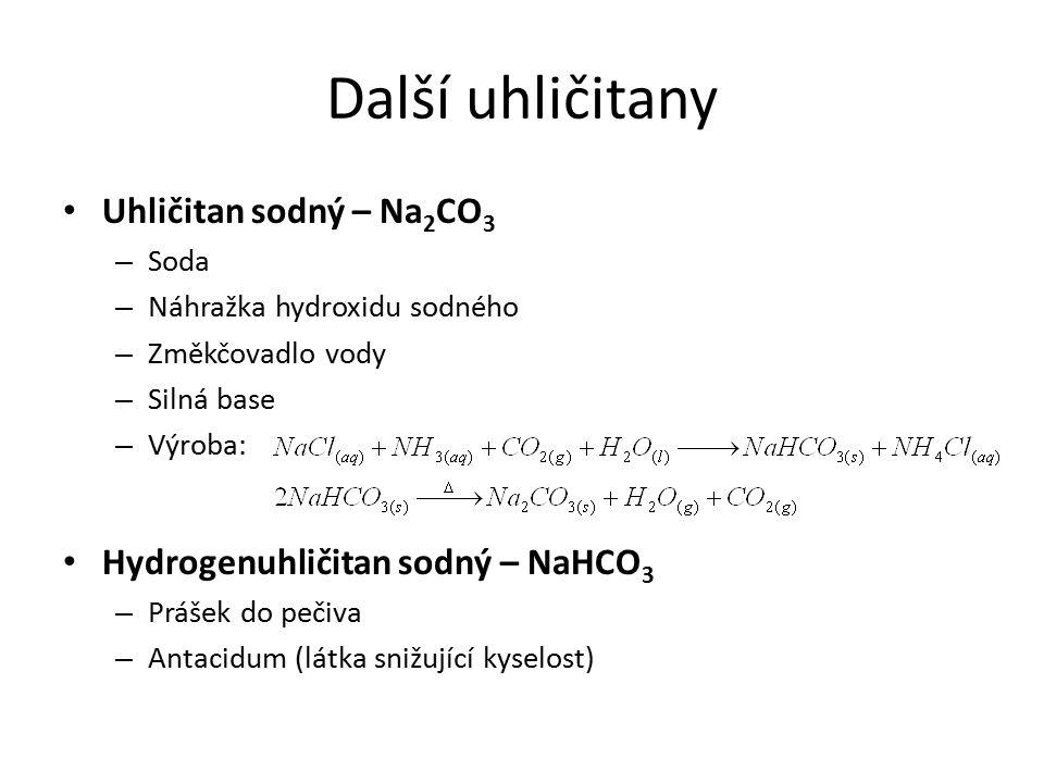 Karbidy Sloučeniny uhlíku s kovy a polokovy, kde uhlík vystupuje jako elektronegativní prvek Karbid vápenatý – CaC 2 – Acetylid (sůl acetylenu) – Iontová sloučenina Ca 2+ C 2 2- – Výroba: redukce oxidu vápenatého koksem za vysokých teplot – Anion reaguje s vodou bouřlivě za tvorby acetylenu – hořlavého, výbušného plynu – Použití: Autogenní svařování Lampy Karbid křemičitý – SiC – Podobný diamantu – Kovalentní karbid – Brusivo (karborundum) – Výroba: