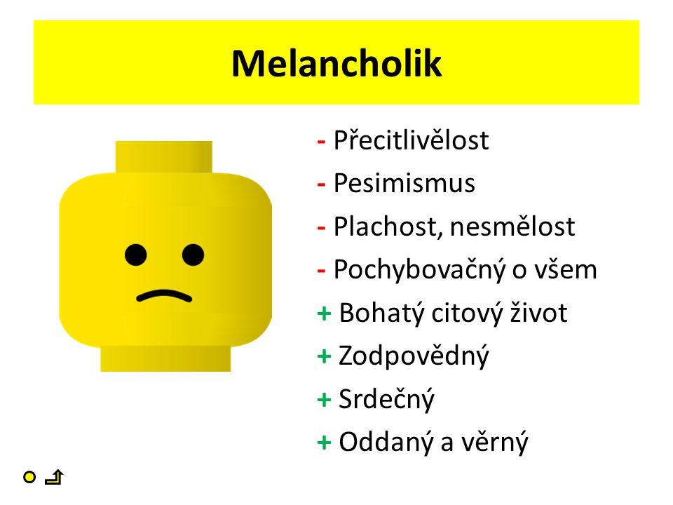 Melancholik - Přecitlivělost - Pesimismus - Plachost, nesmělost - Pochybovačný o všem + Bohatý citový život + Zodpovědný + Srdečný + Oddaný a věrný