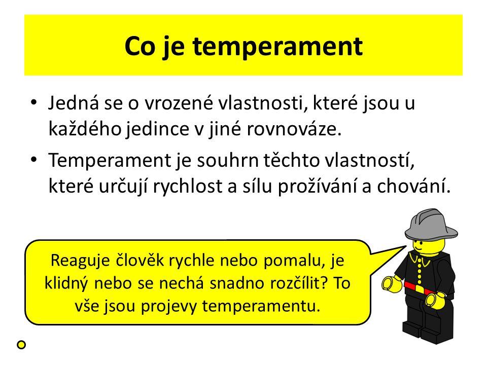 Co je temperament Jedná se o vrozené vlastnosti, které jsou u každého jedince v jiné rovnováze. Temperament je souhrn těchto vlastností, které určují