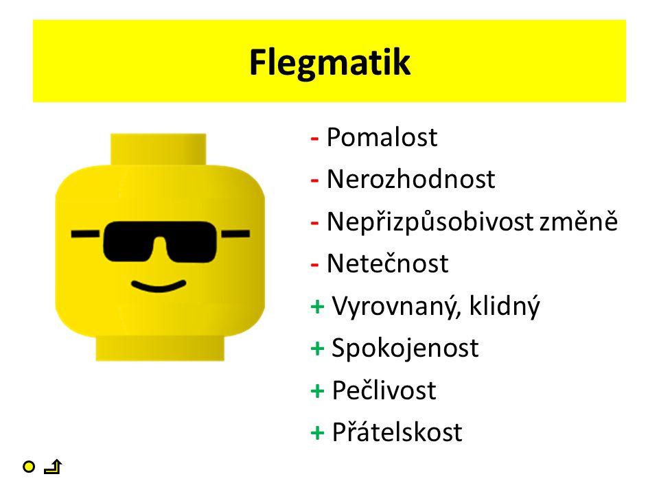 Flegmatik - Pomalost - Nerozhodnost - Nepřizpůsobivost změně - Netečnost + Vyrovnaný, klidný + Spokojenost + Pečlivost + Přátelskost