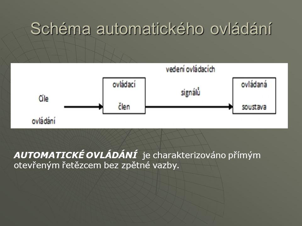 Schéma automatického ovládání AUTOMATICKÉ OVLÁDÁNÍ je charakterizováno přímým otevřeným řetězcem bez zpětné vazby.