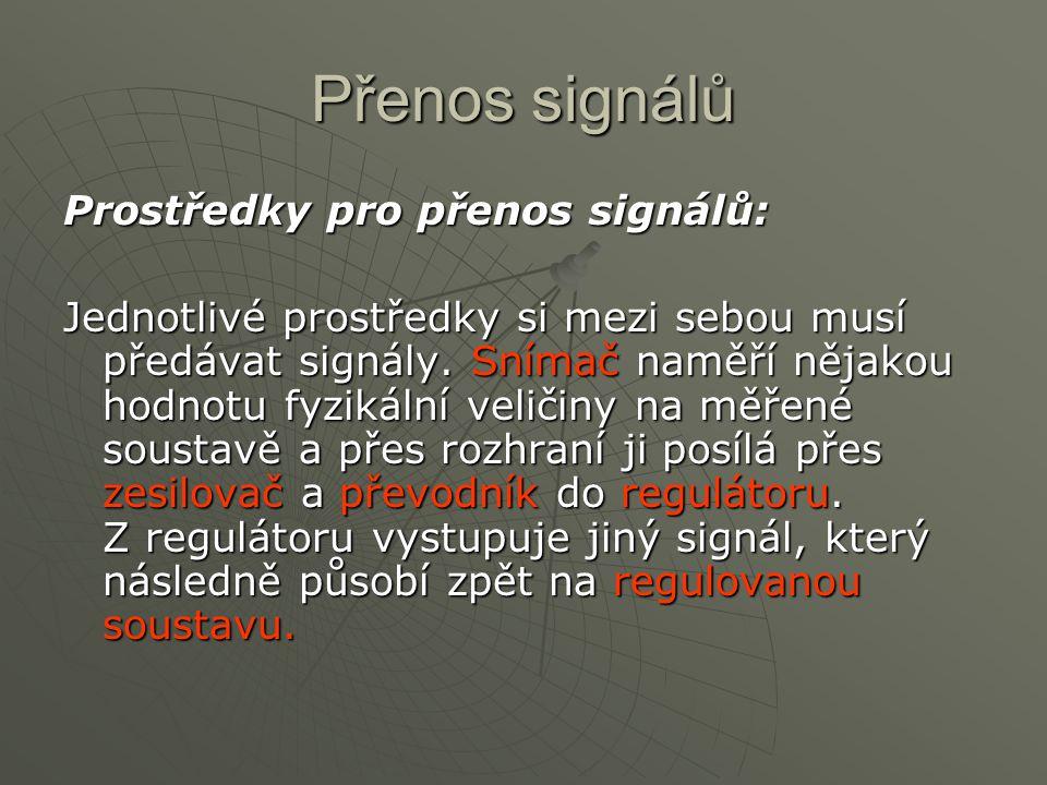 Přenos signálů Prostředky pro přenos signálů: Jednotlivé prostředky si mezi sebou musí předávat signály. Snímač naměří nějakou hodnotu fyzikální velič