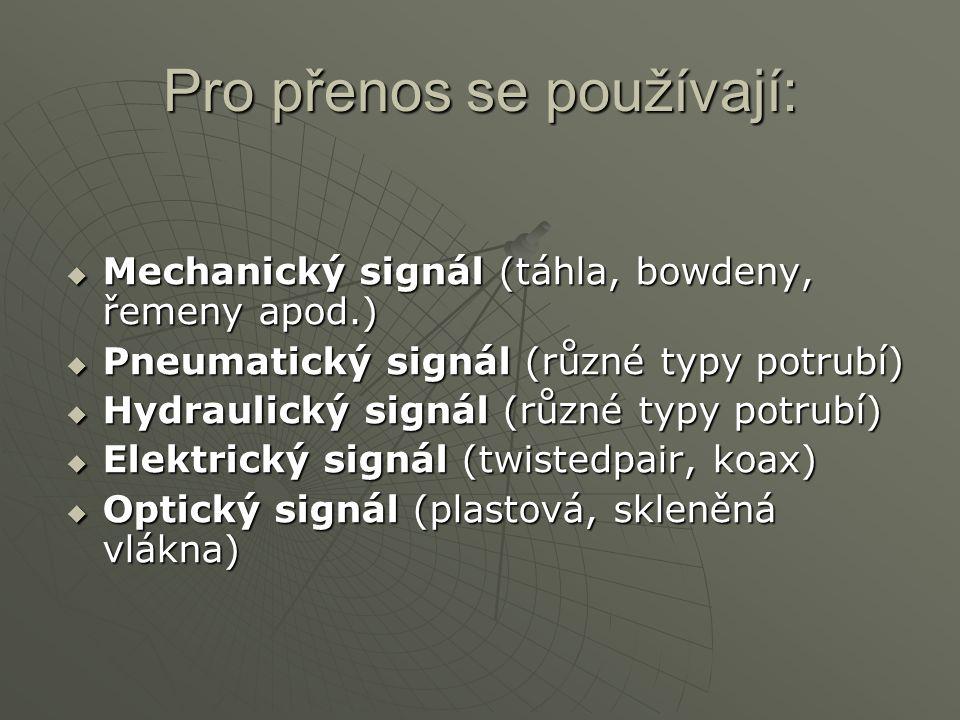Pro přenos se používají:  Mechanický signál (táhla, bowdeny, řemeny apod.)  Pneumatický signál (různé typy potrubí)  Hydraulický signál (různé typy