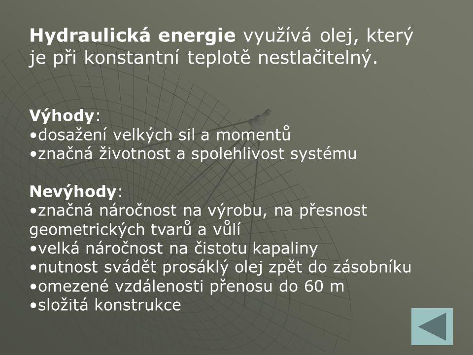 Hydraulická energie využívá olej, který je při konstantní teplotě nestlačitelný. Výhody: dosažení velkých sil a momentů značná životnost a spolehlivos