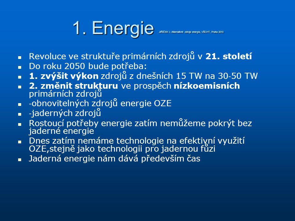 1. Energie JIŘÍČEK I.: Alternativní zdroje energie, VŠCHT, Praha 2010 Revoluce ve struktuře primárních zdrojů v 21. století Do roku 2050 bude potřeba: