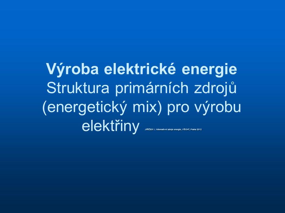 JIŘÍČEK I.: Alternativní zdroje energie, VŠCHT, Praha 2012 Výroba elektrické energie Struktura primárních zdrojů (energetický mix) pro výrobu elektřin