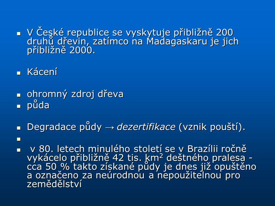 V České republice se vyskytuje přibližně 200 druhů dřevin, zatímco na Madagaskaru je jich přibližně 2000. V České republice se vyskytuje přibližně 200