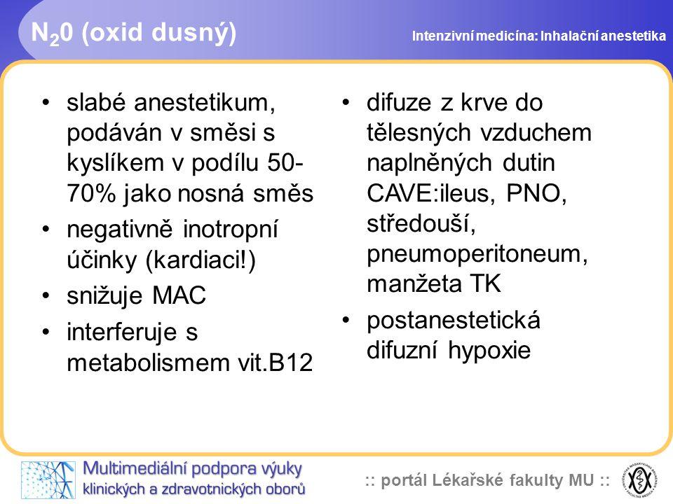 :: portál Lékařské fakulty MU :: N 2 0 (oxid dusný) Intenzivní medicína: Inhalační anestetika slabé anestetikum, podáván v směsi s kyslíkem v podílu 5