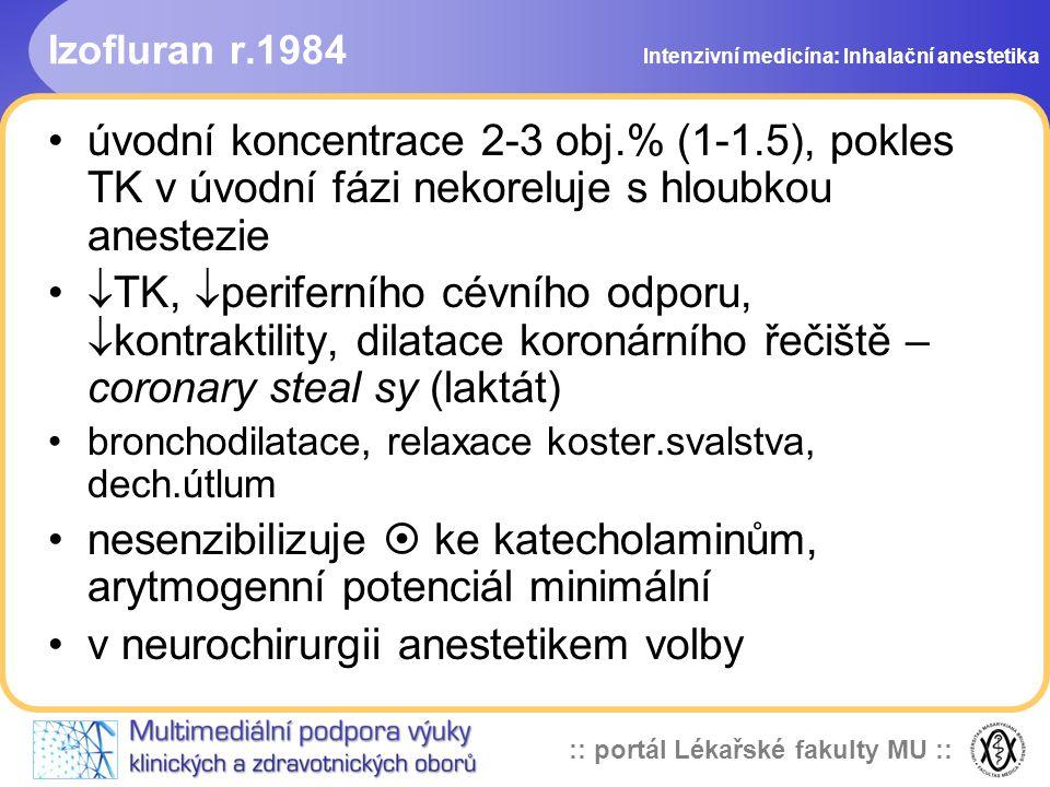 :: portál Lékařské fakulty MU :: Izofluran r.1984 úvodní koncentrace 2-3 obj.% (1-1.5), pokles TK v úvodní fázi nekoreluje s hloubkou anestezie  TK,