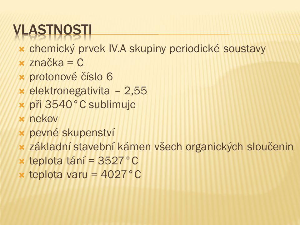  chemický prvek IV.A skupiny periodické soustavy  značka = C  protonové číslo 6  elektronegativita – 2,55  při 3540°C sublimuje  nekov  pevné s