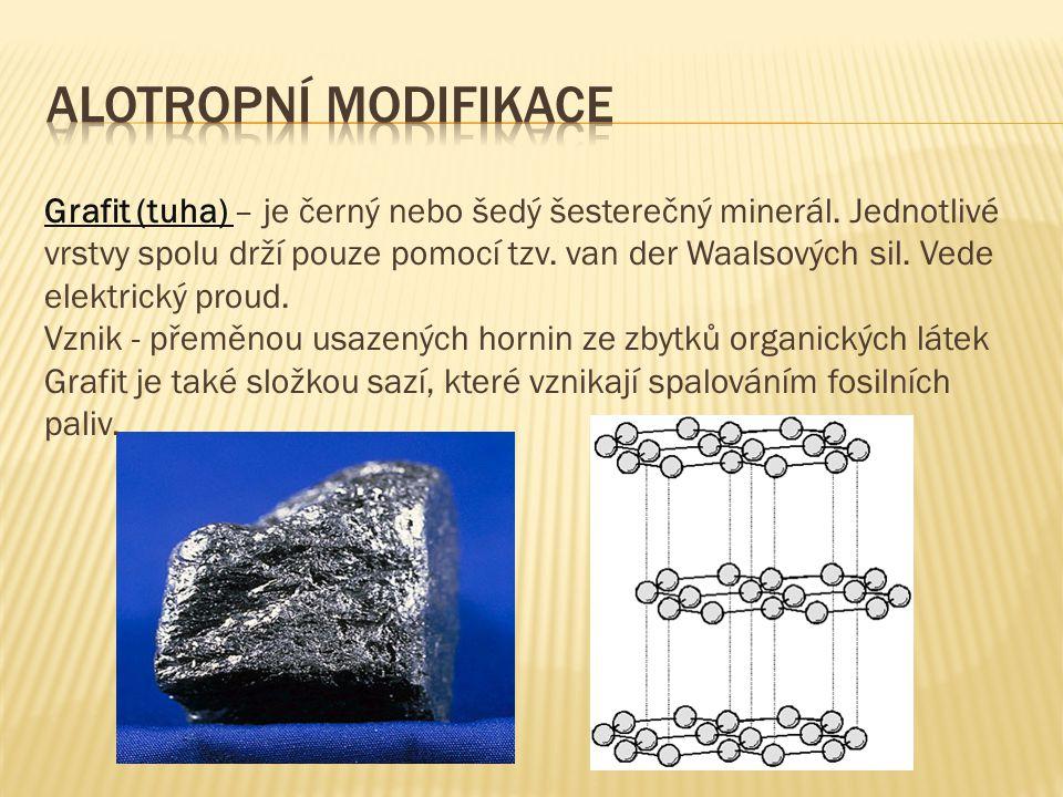 Grafit (tuha) – je černý nebo šedý šesterečný minerál. Jednotlivé vrstvy spolu drží pouze pomocí tzv. van der Waalsových sil. Vede elektrický proud. V