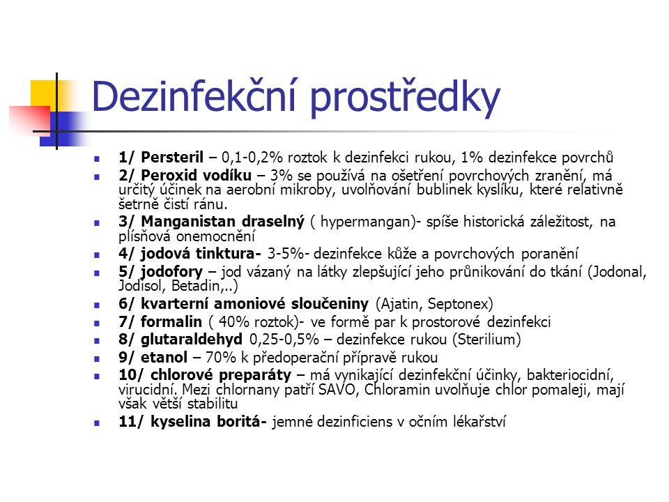 Dezinfekční prostředky 1/ Persteril – 0,1-0,2% roztok k dezinfekci rukou, 1% dezinfekce povrchů 2/ Peroxid vodíku – 3% se používá na ošetření povrchov