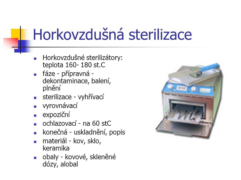 Horkovzdušná sterilizace Horkovzdušné sterilizátory: teplota 160- 180 st.C fáze - přípravná - dekontaminace, balení, plnění sterilizace - vyhřívací vy