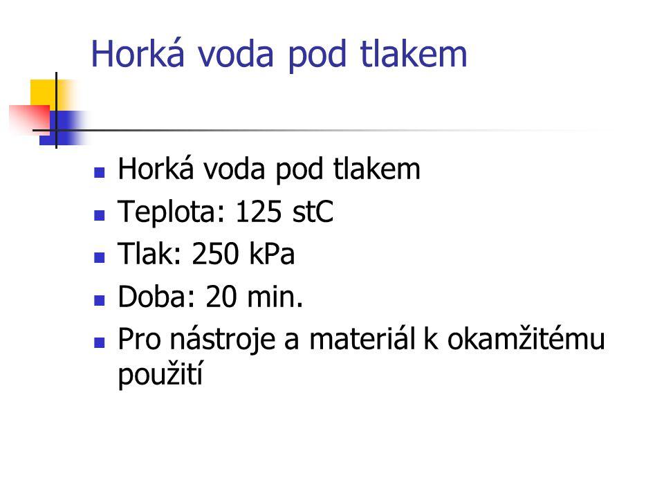Horká voda pod tlakem Teplota: 125 stC Tlak: 250 kPa Doba: 20 min. Pro nástroje a materiál k okamžitému použití
