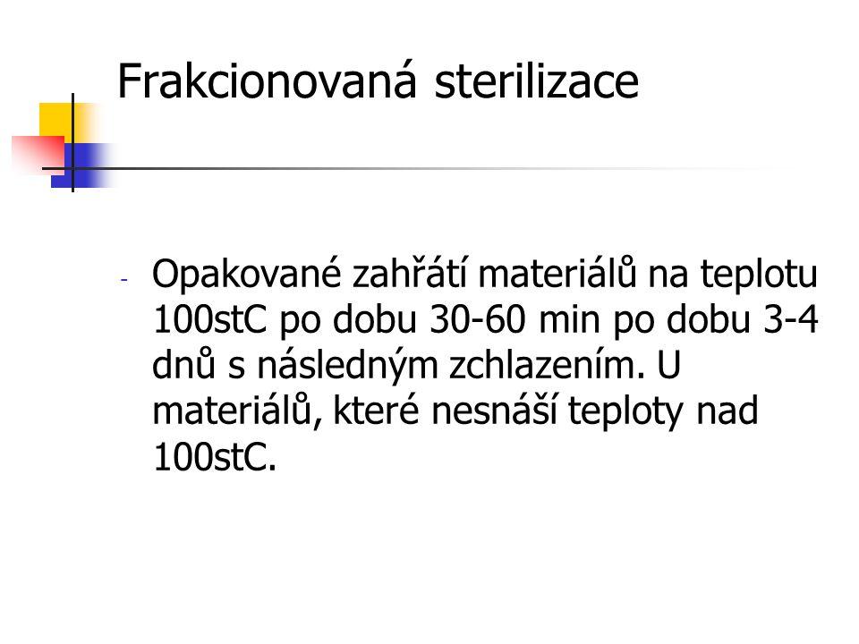 Frakcionovaná sterilizace - Opakované zahřátí materiálů na teplotu 100stC po dobu 30-60 min po dobu 3-4 dnů s následným zchlazením. U materiálů, které