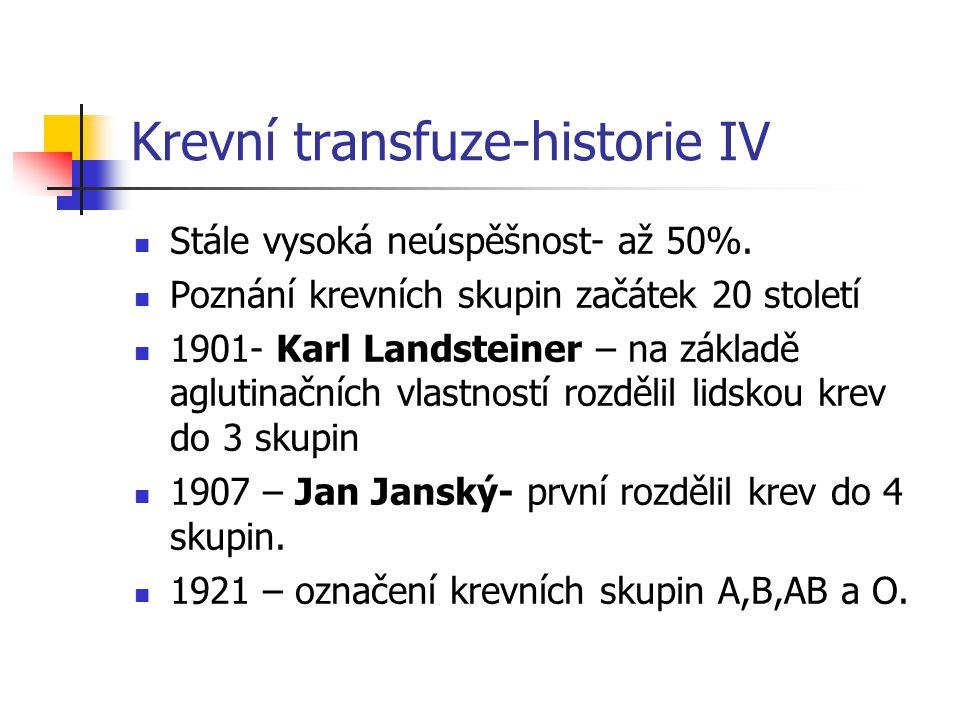 Krevní transfuze-historie V Karl Landsteiner (1868, Vídeň - 1943, New York) byl rakouský biolog a fyzik.