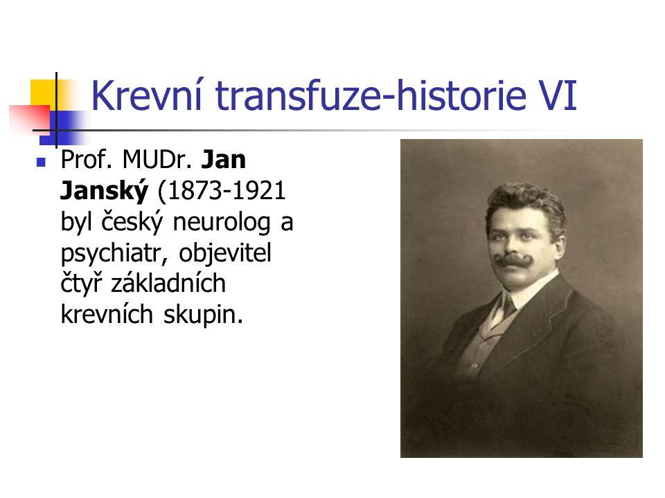 Krevní transfuze-historie VI Prof. MUDr. Jan Janský (1873-1921 byl český neurolog a psychiatr, objevitel čtyř základních krevních skupin.