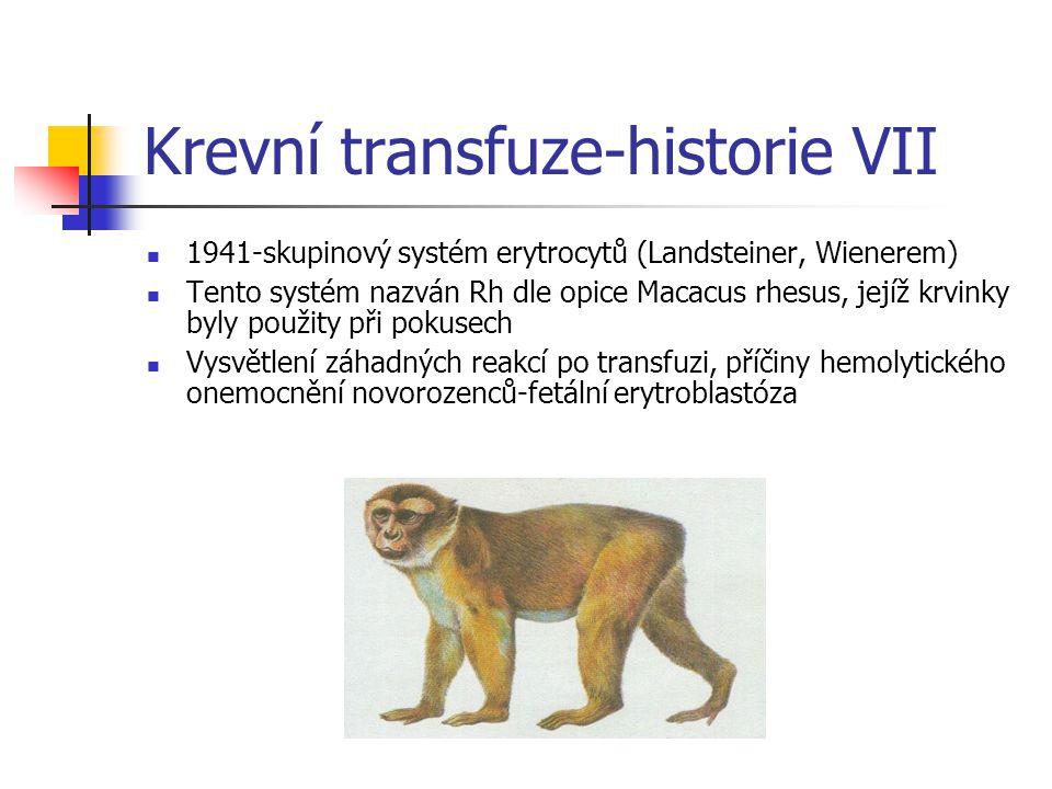 Krevní transfuze-historie VII 1941-skupinový systém erytrocytů (Landsteiner, Wienerem) Tento systém nazván Rh dle opice Macacus rhesus, jejíž krvinky