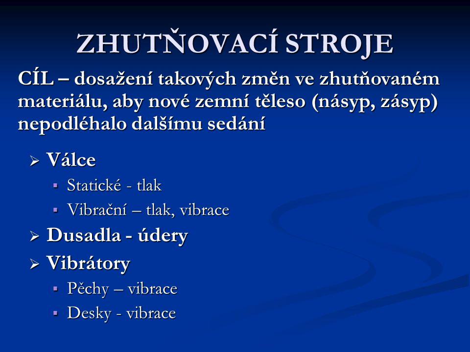 ZHUTŇOVACÍ STROJE  Válce  Statické - tlak  Vibrační – tlak, vibrace  Dusadla - údery  Vibrátory  Pěchy – vibrace  Desky - vibrace CÍL – dosažen