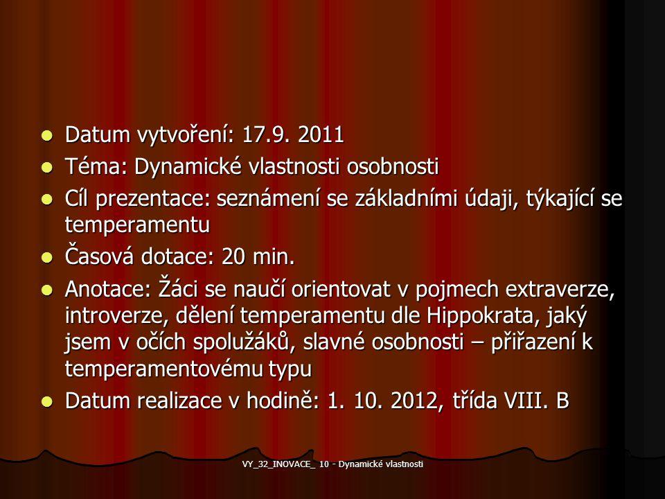 Datum vytvoření: 17.9. 2011 Datum vytvoření: 17.9. 2011 Téma: Dynamické vlastnosti osobnosti Téma: Dynamické vlastnosti osobnosti Cíl prezentace: sezn