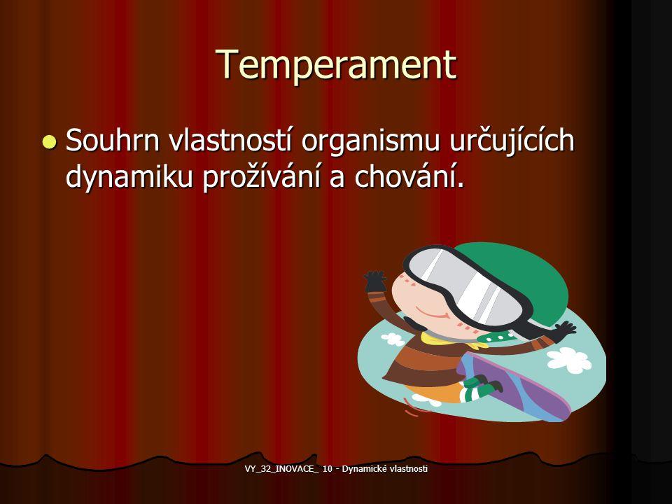 Temperament Souhrn vlastností organismu určujících dynamiku prožívání a chování. Souhrn vlastností organismu určujících dynamiku prožívání a chování.