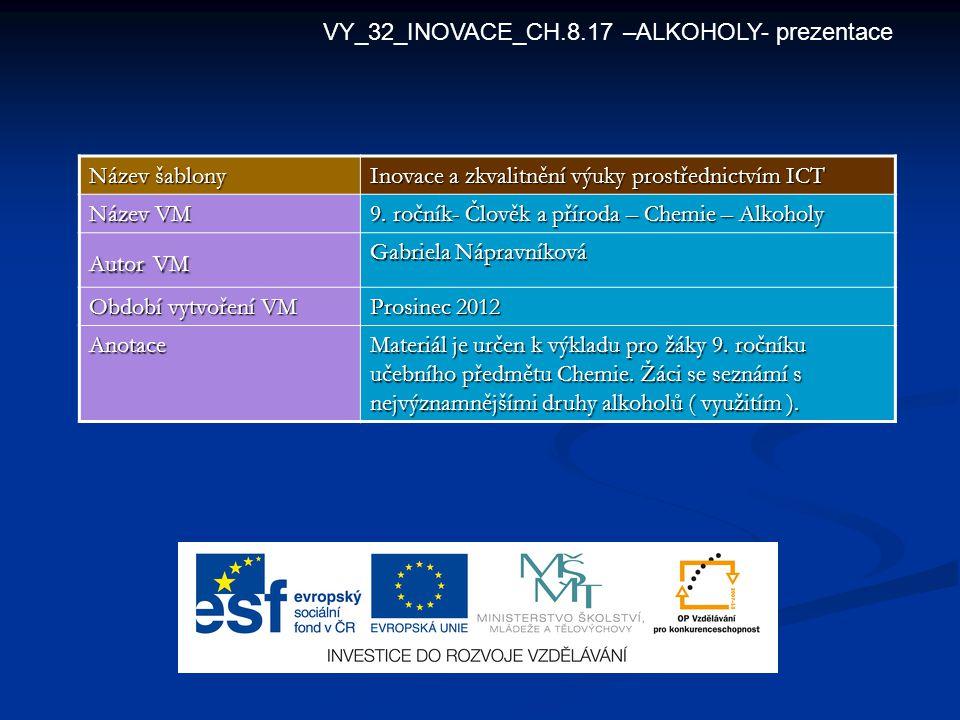 VY_32_INOVACE_CH.8.17 –ALKOHOLY- prezentace Název šablony Inovace a zkvalitnění výuky prostřednictvím ICT Název VM 9. ročník- Člověk a příroda – Chemi