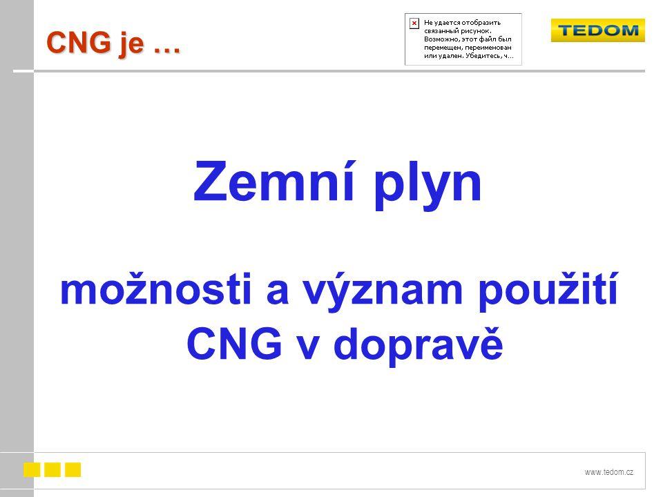 www.tedom.cz CNG je … Zemní plyn možnosti a význam použití CNG v dopravě